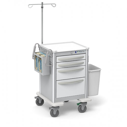 4-Drawer Junior Short IV Cart  (JSGKA-3369-WHT)With Optional Accessories-Waterloo Healthcare
