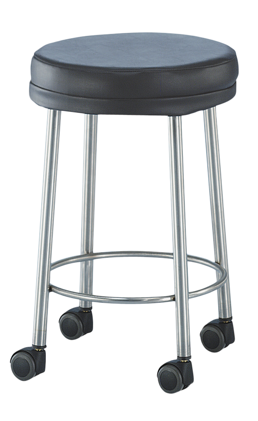 "MR Conditional Padded Stool stainless steel 15"" Diam. x 23""H 2"" cushion 2"" MR Conditional Swivel Casters - Didage"