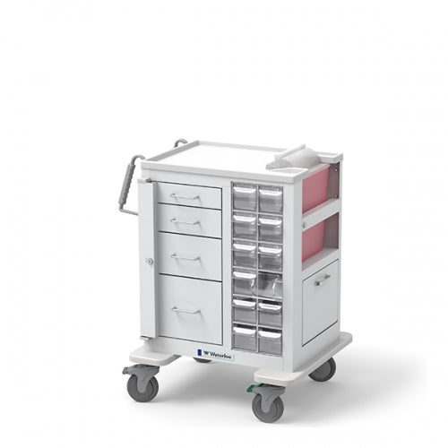 4-Drawer Short Phlebotomy Cart(MSWA-3469-WHT)-Waterloo Healthcare
