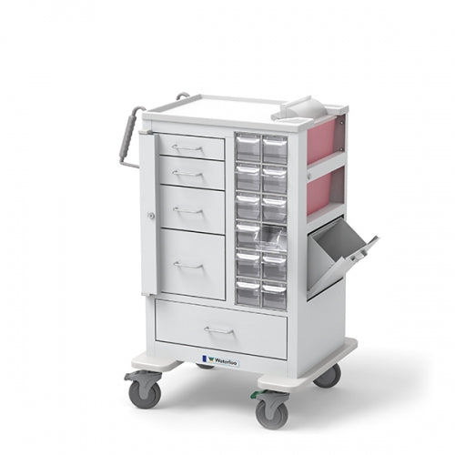 5-Drawer Tall Phlebotomy Cart(MTWA-34696-WHT)-Waterloo Healthcare