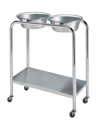 P-1079-W/S-SS Double Basin Stand with Shelf