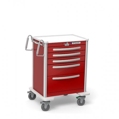 5-Drawer Medium Emergency Cart (UMRLA-33369-RED)-Waterloo Healthcare