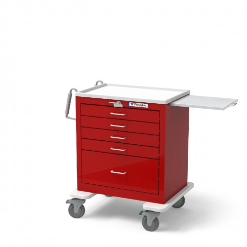 5-Drawer Short Emergency Cart (USRLU-33339-RED)-Waterloo Healthcare