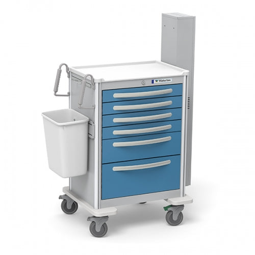 6-Drawer Tall Difficult Airway Cart(UTGKA-333369-LTB)With Optional Accessories-Waterloo Healthcare