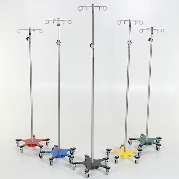 Chrome 5-leg Space Saving IV Pole-MidCentral Medical