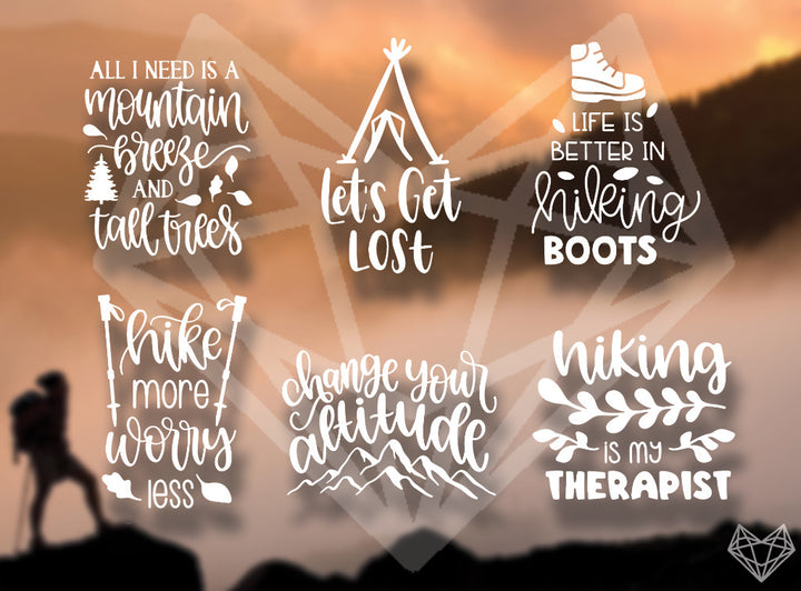 HIKING DECALS 6IN