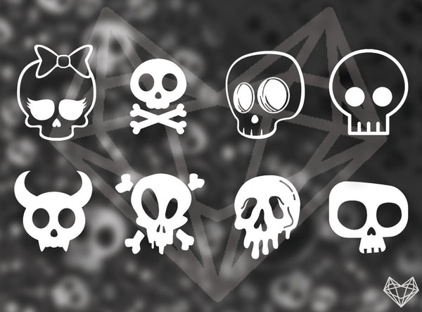 SKULL DECALS 4IN