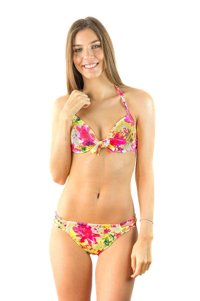 Bikini Copa Push Up Colaless Flores - relleciga-chile
