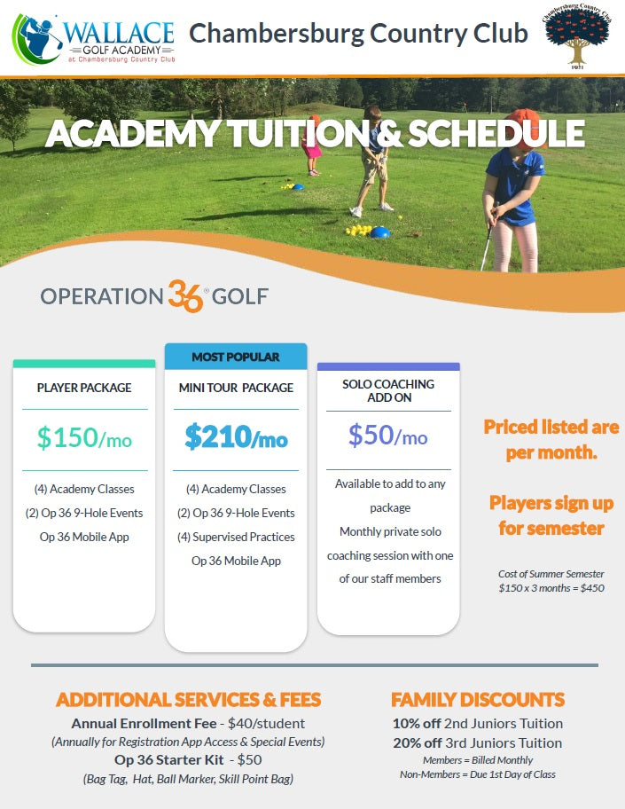 Golf Academy Player Package (Monthly) - First Season Student