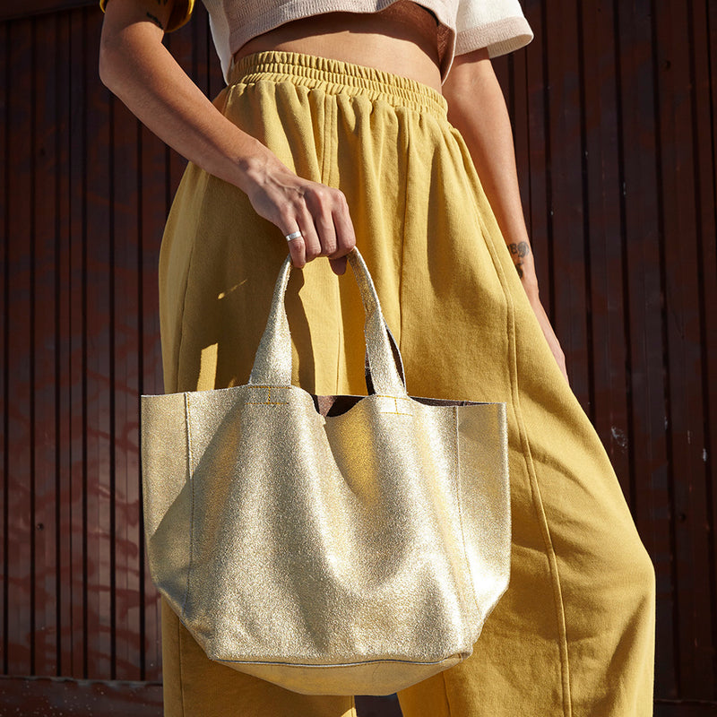 METALLIC DISTRESS DOUBLE FACED REBECCA TOTE SALE