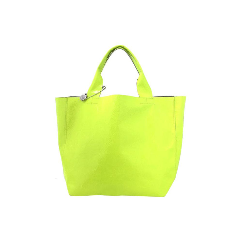 TWO TONE FLUORO/PATENT NICO CROSSBODY BUCKET BAG