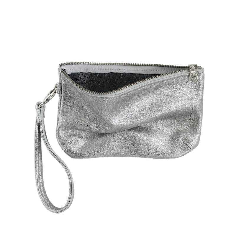 METALLIC DISTRESS DOUBLE FACED WRISTLET POUCH LARGE