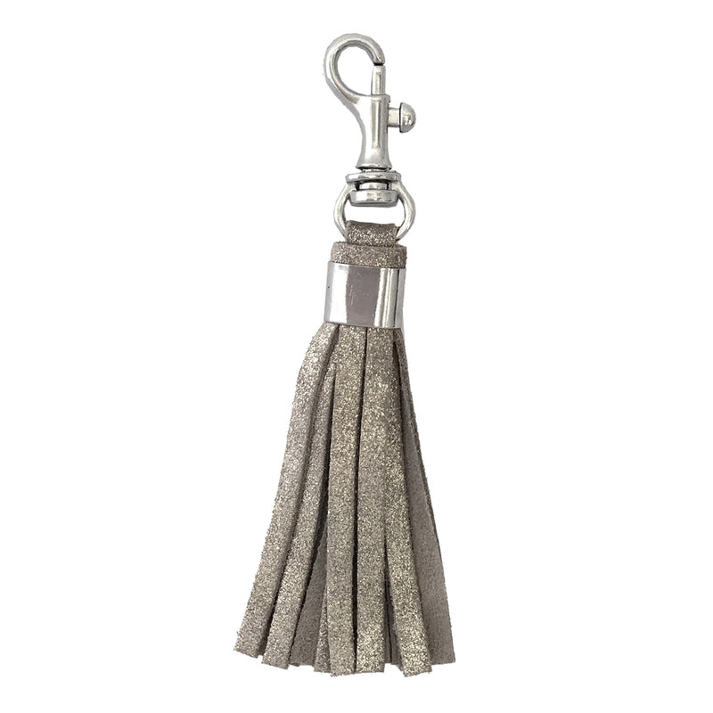 SPARKLE DOUBLE FACED CLIP TASSEL KEYCHAIN