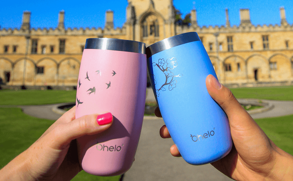 Reusable insulated tumblers outside clinking cheers