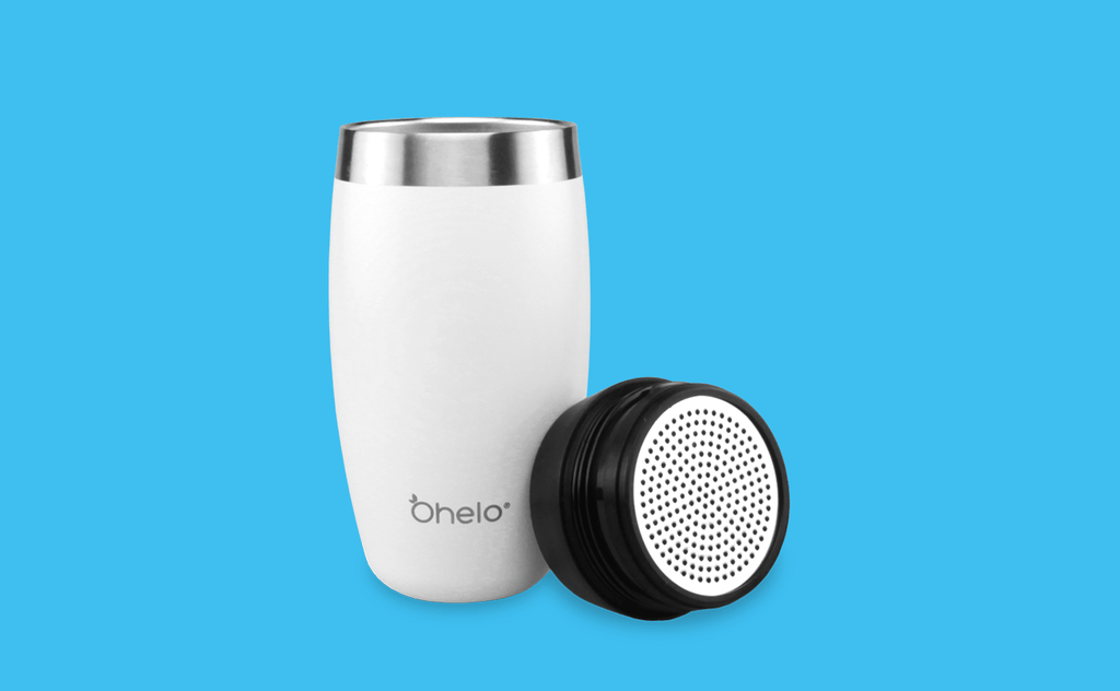 Ohelo stainless steel tumbler with lid showing mesh attachment for use with protein shake and loose leaf tea