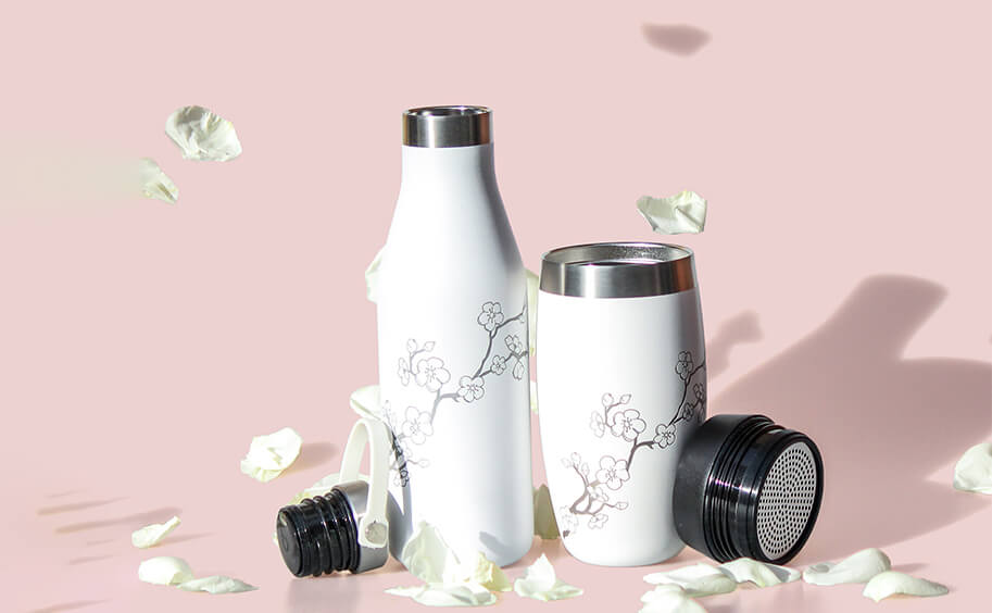 Ohelo white blossom water bottle and coffee cup