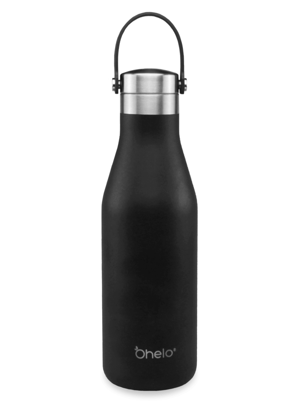 Ohelo reusable stainless steel water bottle black