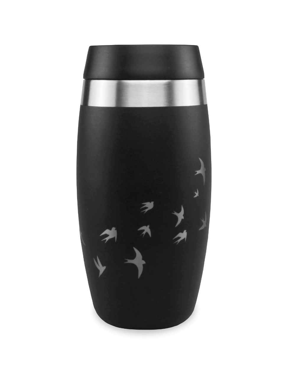thermos black coffee cup with laser etched swallows