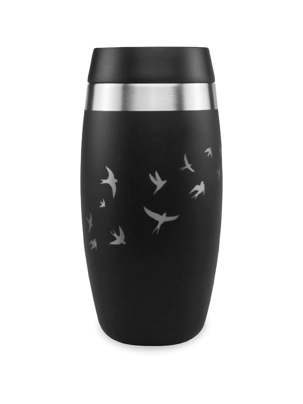 best black travel mug with carry strap with laser etched swallows