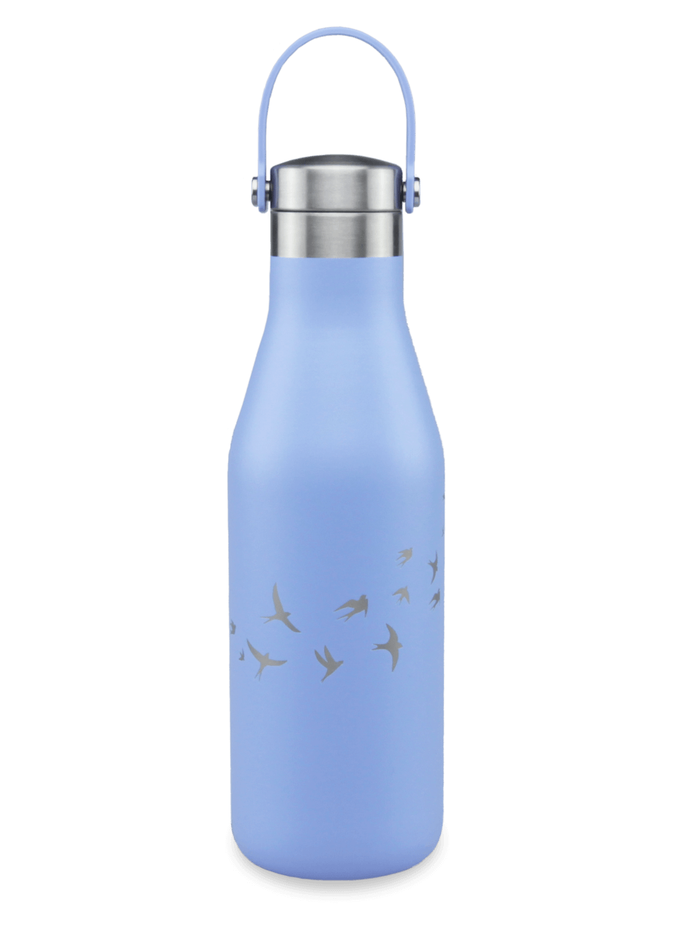 refillable blue bottle with carry strap with laser etched swallows