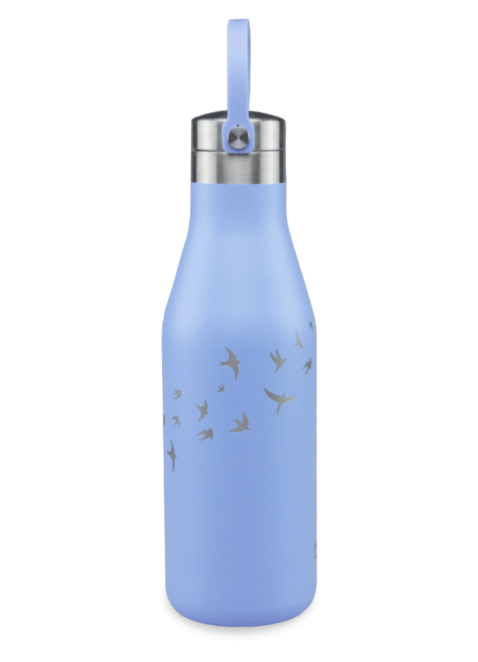 500ml Ohelo blue water bottle with laser etched swallows
