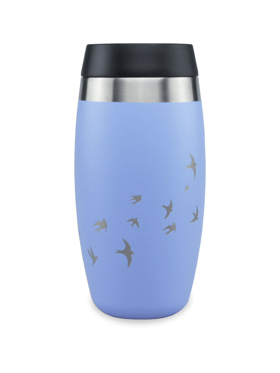 thermos blue coffee cup with laser etched cherry blossom