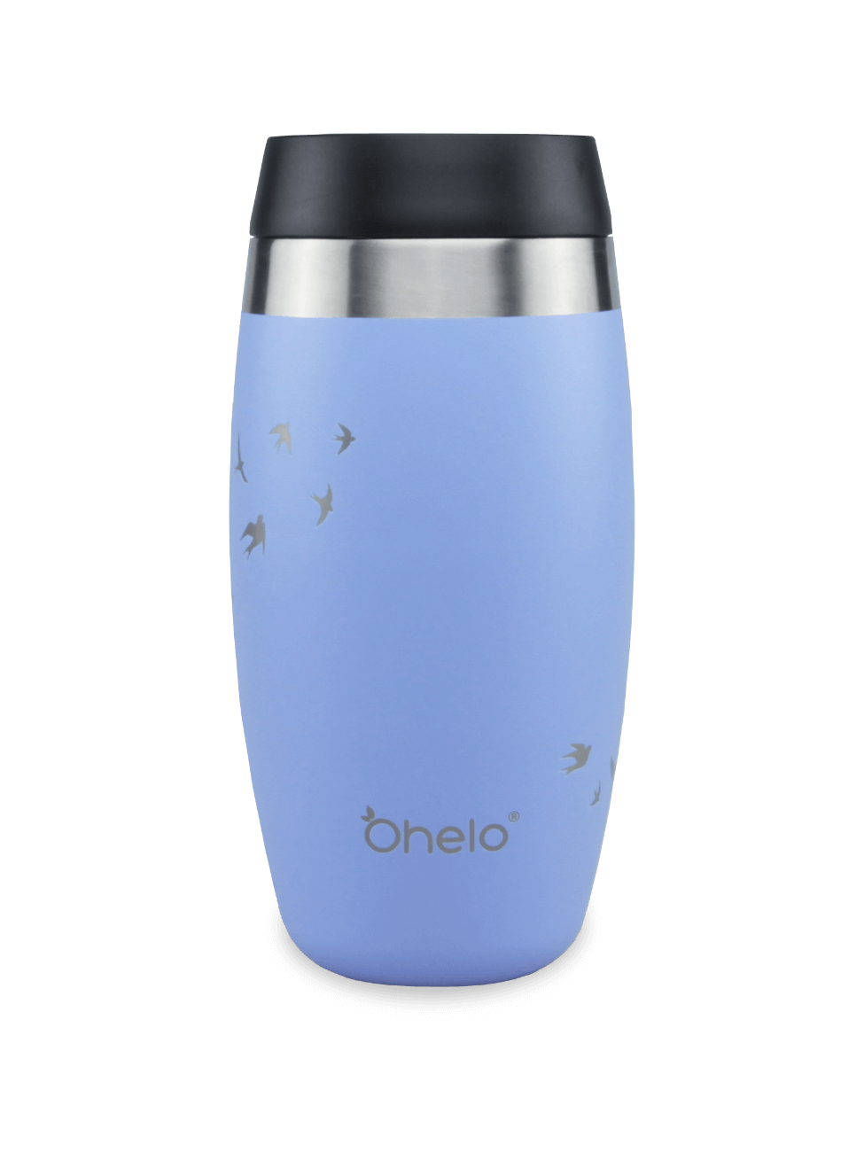 Blue reusable travel mug with sip lid and laser etched swallows