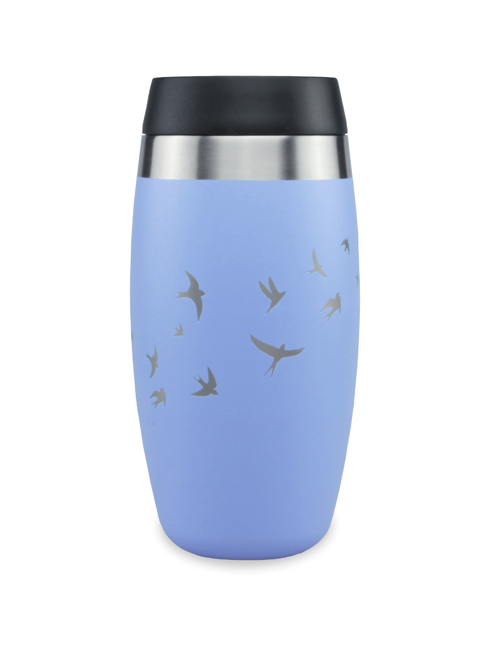 Leakproof reusable blue coffee cup with laser etched swallows