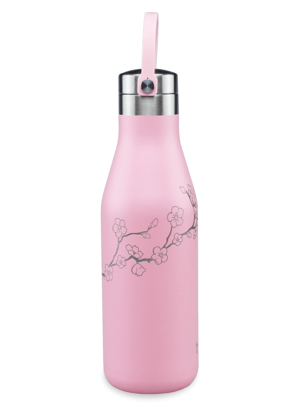 insulated water flask 17oz pink with laser etched cherry blossom