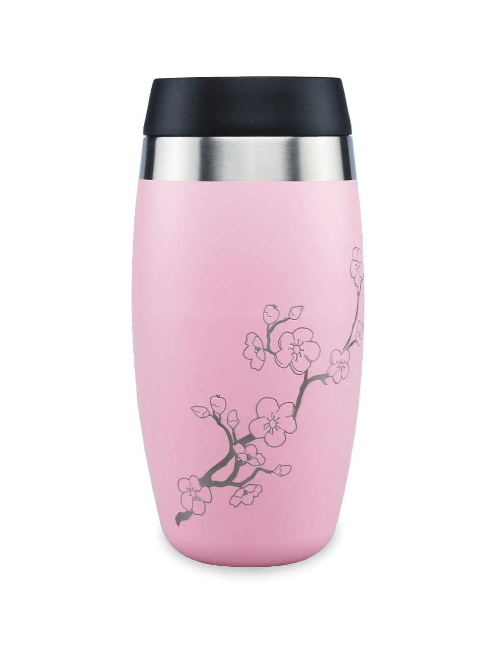 thermos pink coffee cup with laser etched cherry blossom