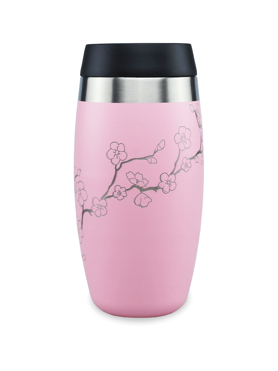 Leakproof reusable pink coffee cup with laser etched cherry blossom