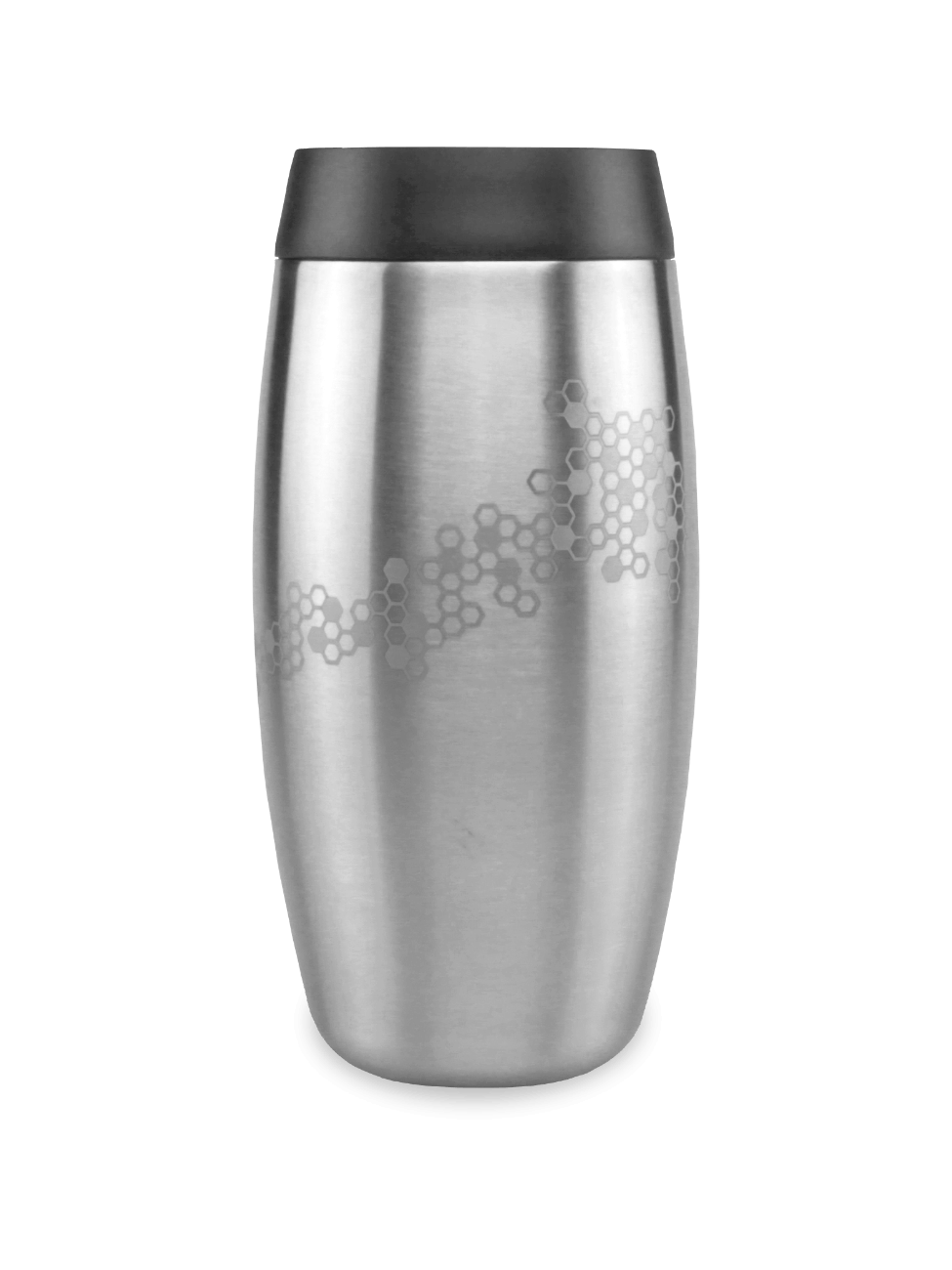 Leakproof reusable steel coffee cup with laser etched bee and honeycomb