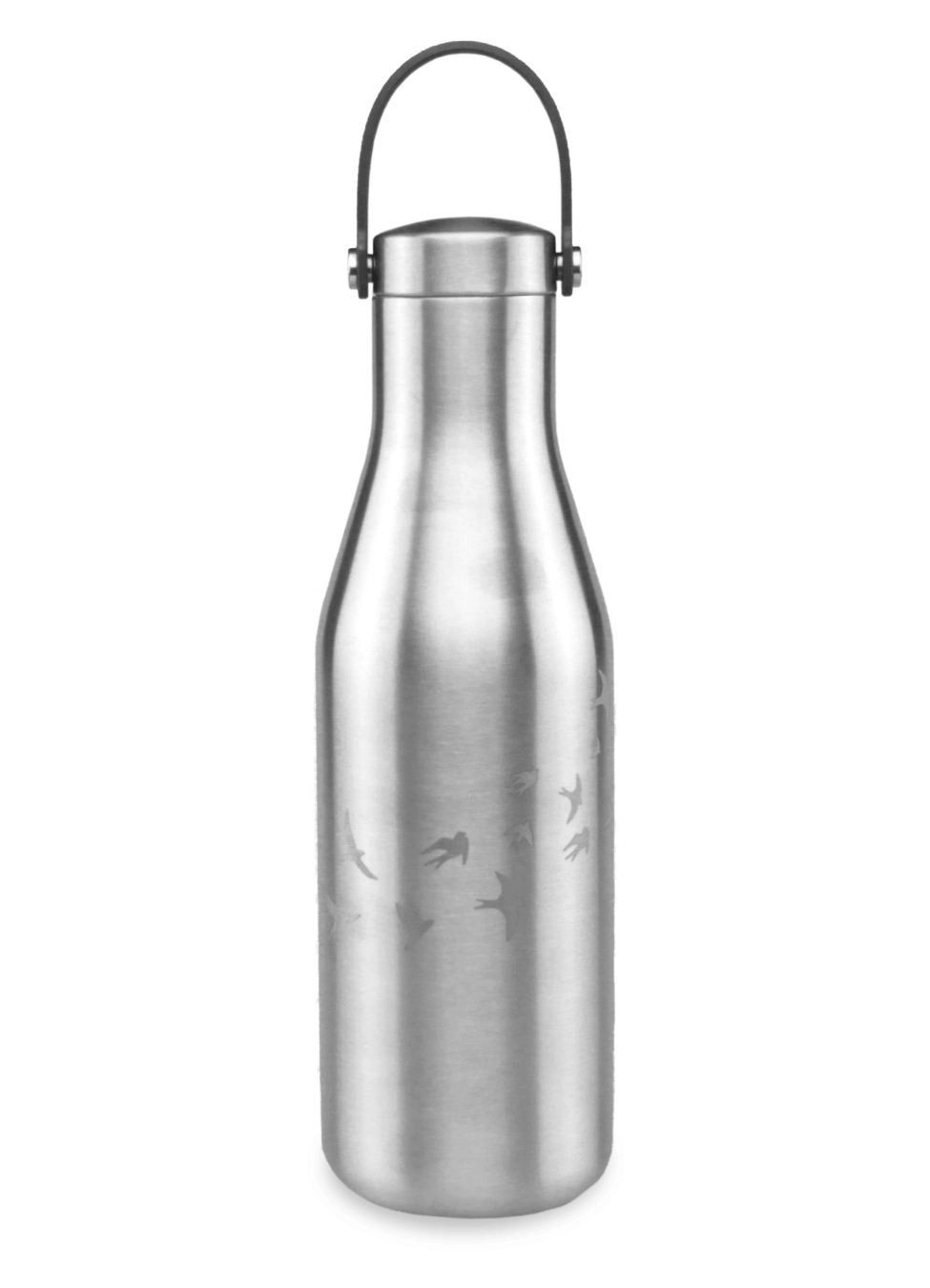 thermos water bottle with carry strap stainless steel with laser etched swallow