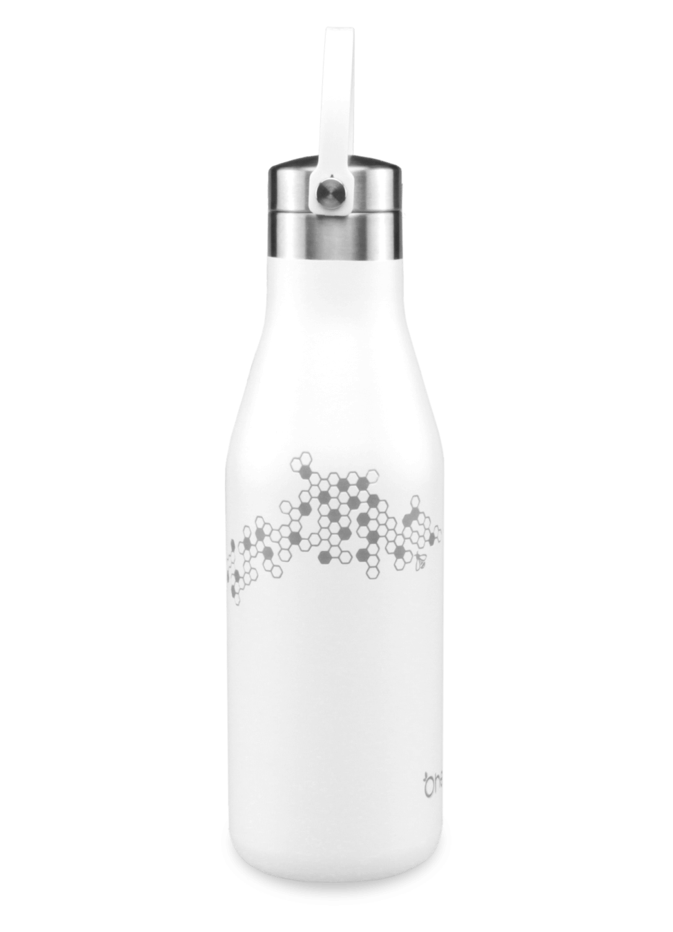 White reusable bottle 500ml with strap and laser etched honeycomb and bee
