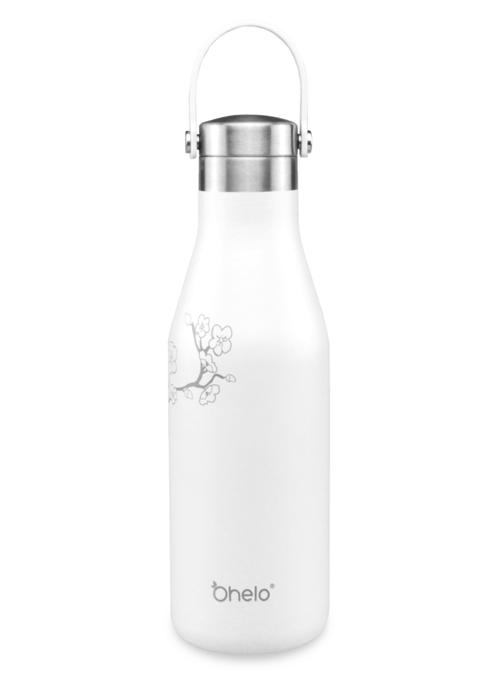 Reusable insulated stainless steel water bottle white with laser etched cherry blossom