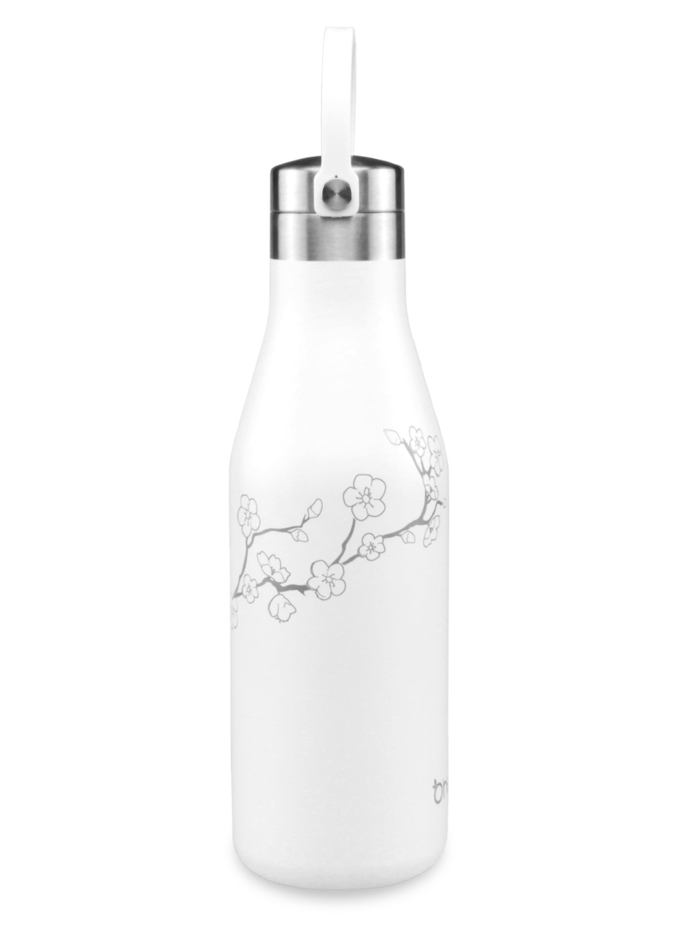 500ml white reusable bottle with carry strap and laser etched cherry blossom