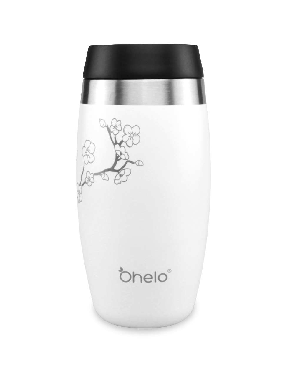 Insulated reusable travel mug white with laser etched cherry blossom