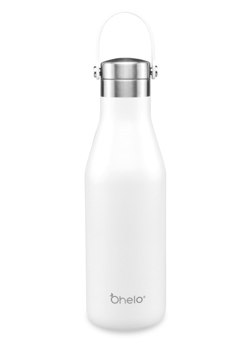 Ohelo reusable stainless steel water bottle white