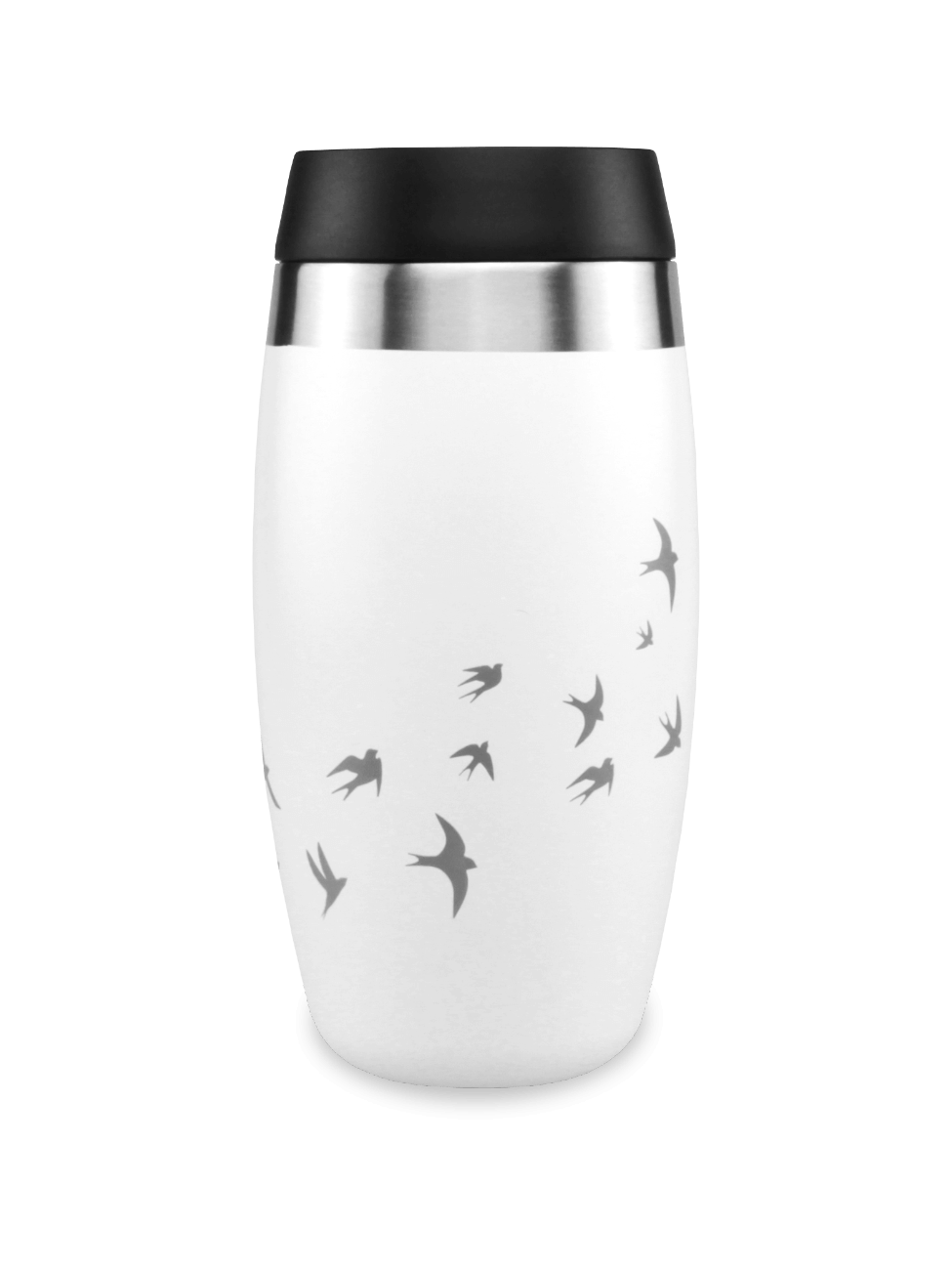 White Insulated travel mug with laser etched swallows