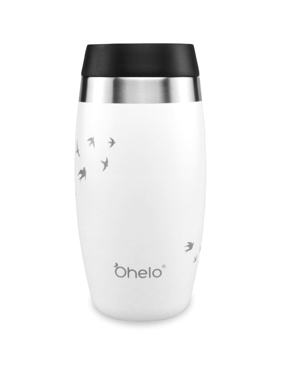Stainless steel travel cup white with laser etched swallows