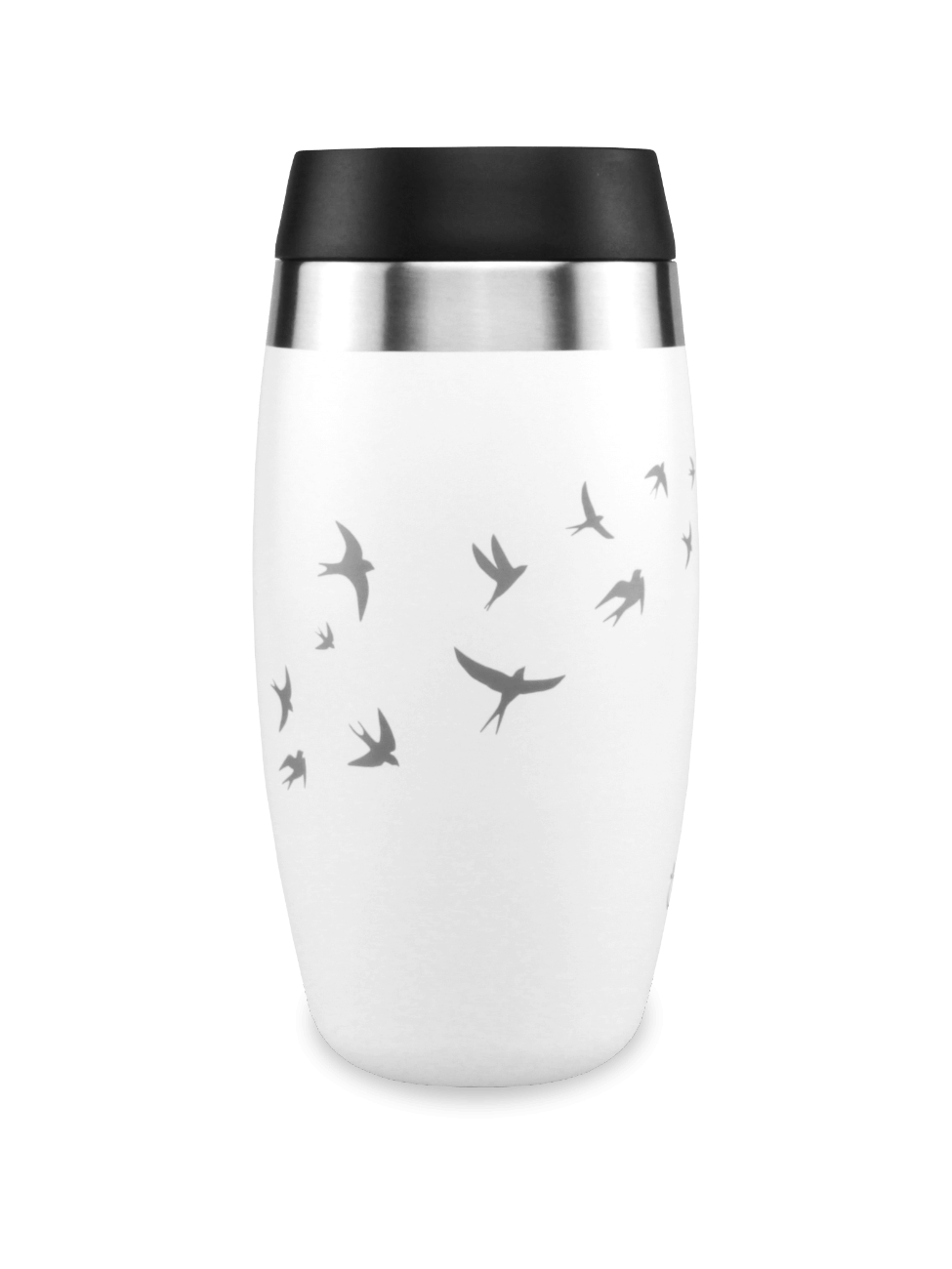 Leakproof white reusable coffee cup with laser etched swallows