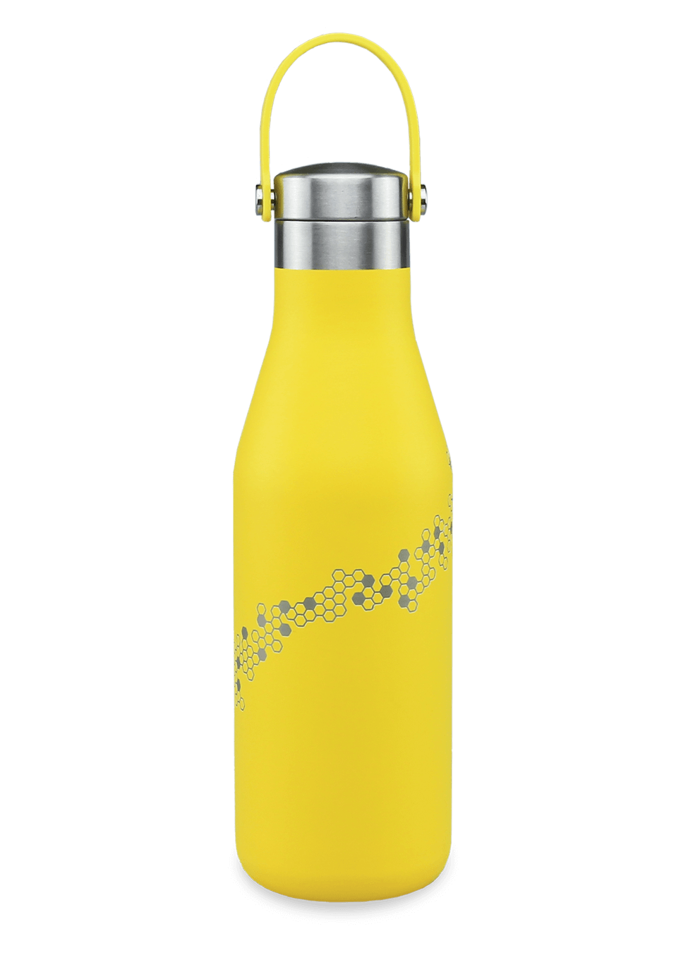 Ohelo branded water bottle 17oz yellow with laser etched honeycomb and bee
