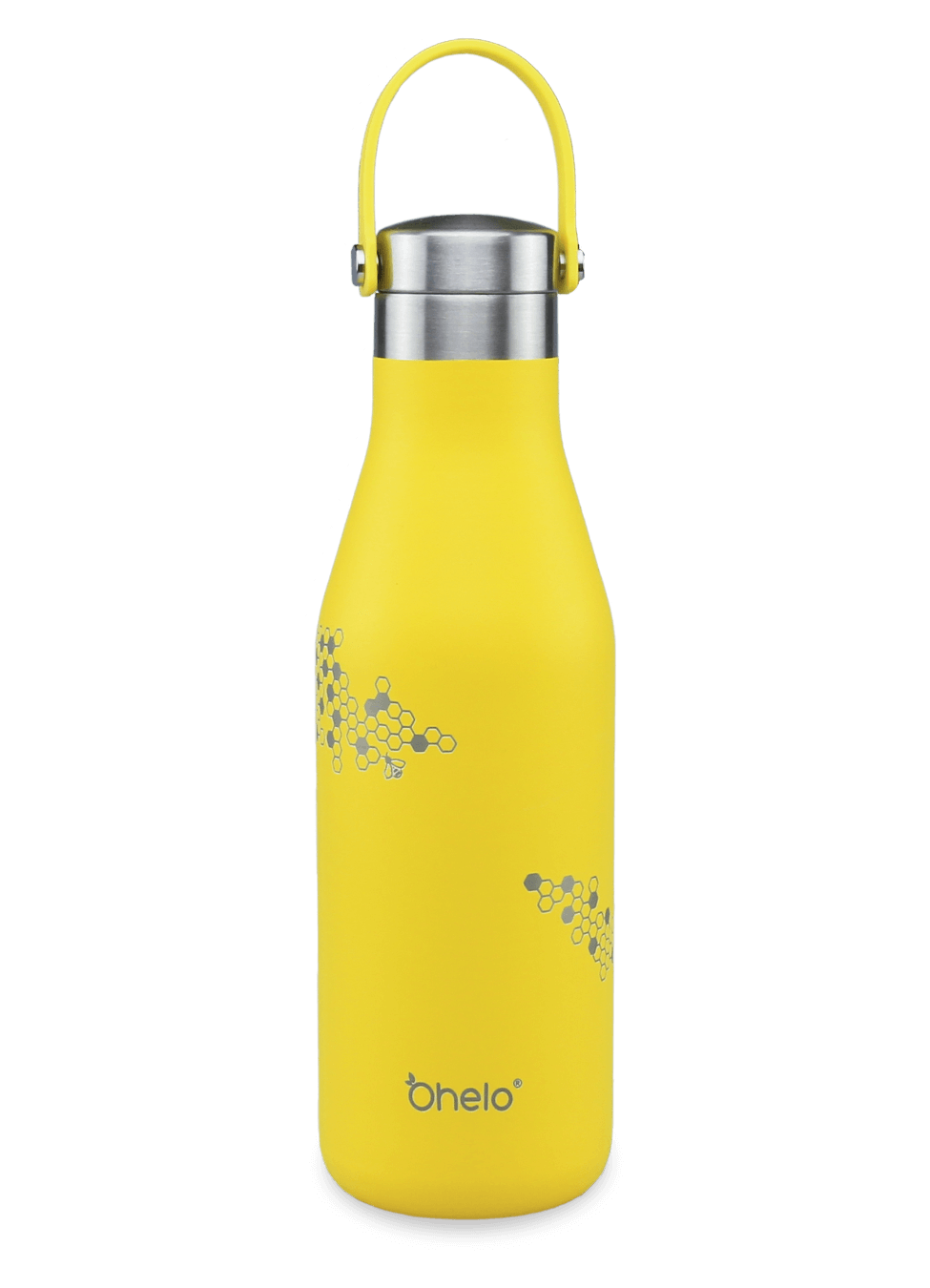 stainless steel reusable bottle yellow with laser etched honeycomb and bee