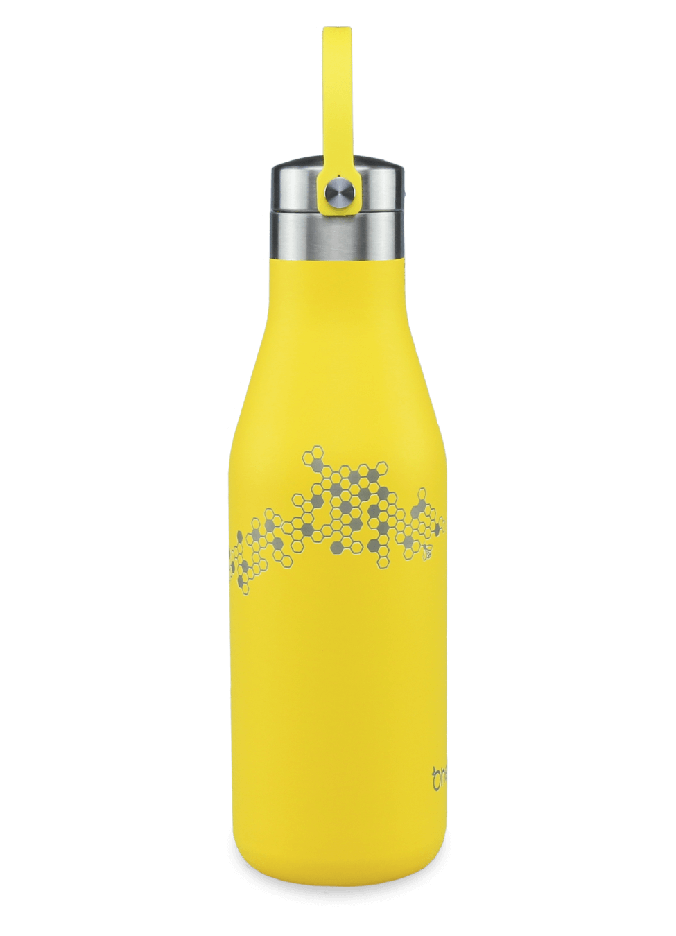 Leak proof refillable yellow bottle with carry strap and laser etched honeycomb and bee