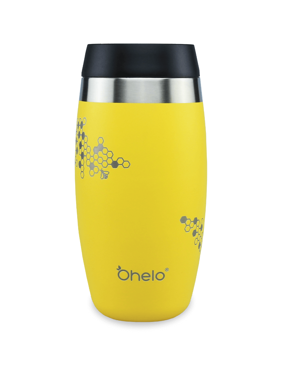Insulated reusable coffee cup yellow with laser etched honeycomb and bee