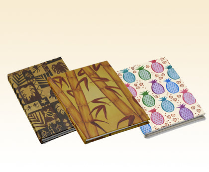 Hawaiian petroglyph journal, Golden bamboo journal, and colorful pineapples journal