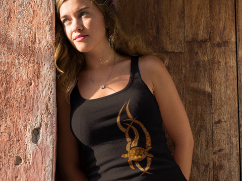 Pretty woman wearing a Hawaiian tribal honu racerback tank
