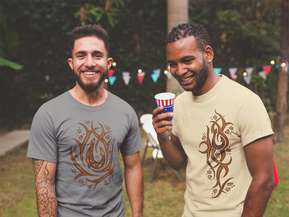 Two smiling men wearing Hawaiian tribal t-shirts