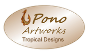 Pono Artworks, tropical designs, Hawaiian Fish hook Logo