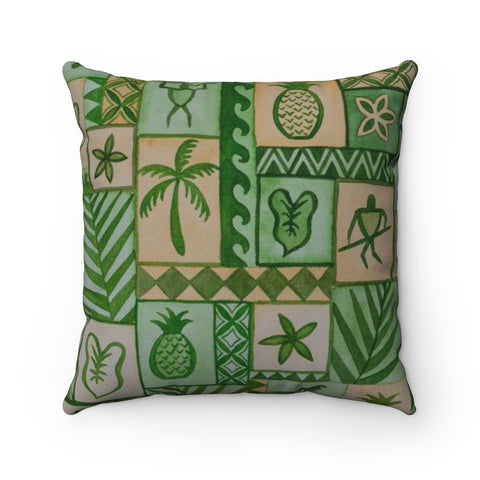 Green Hawaiian Petroglyph Jungle Tapa Pillow - Pono Artworks